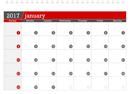 january: January 2017 planning calendar Illustration