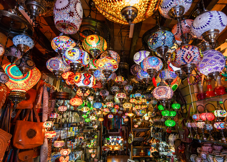 Colorful lanterns and lamps hanging in the market at Marrakesh, Morocco