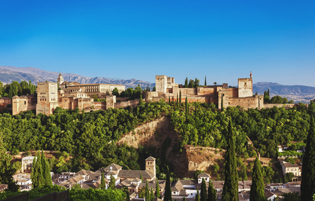Alhambra palace at Granada, Spain. Panorama view on old medieval arab palace at Andalusia. Famous travel destination. Editorial