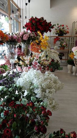 flowers are white and colorful with neatly arranged