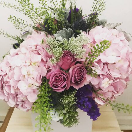many roses arranged neatly for a wedding Stock Photo