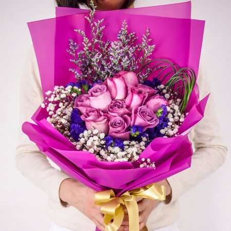 lots of purple flowers with beautiful wrappers
