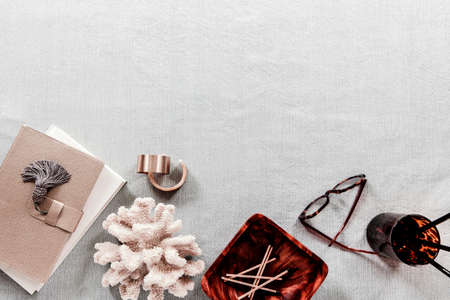 a little note and stationary in white background white pastel desk christmas composition and Female home office desk and Fashion blog hero header background Stock Photo