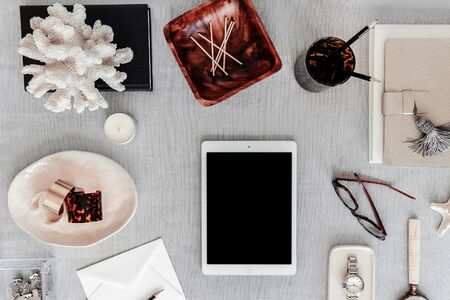 many note and stationary in white background white pastel desk christmas composition and Female home office desk and Fashion blog hero header background
