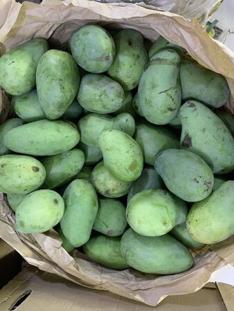 healthy fresh mango fruit,composition with assorted raw organic in basket on nature background 版權商用圖片