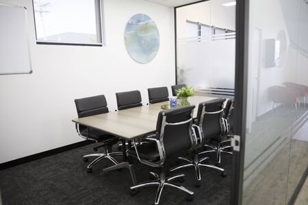 Co working space center modern workplace interior on chair, table, laptop on modern design background