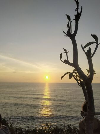 orange sun beautiful sea orange clouds with dramatic light on paradise tropical ocean island