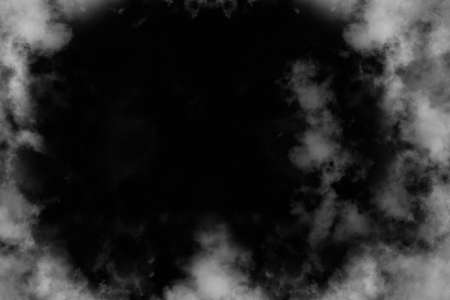 abstract haze gray dry smoke cloud and realistic fog overlay explodes swirl texture on black background.