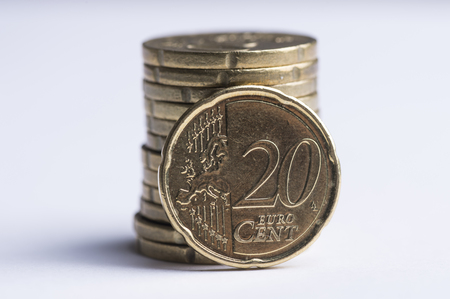 Pile of used 20 cent Euro coins
