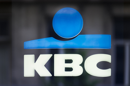 Signboard with logo of KBC bank