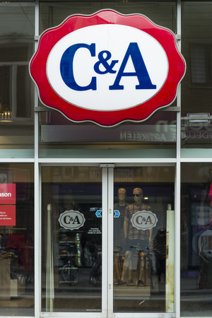 Store entrance and signboard of C&A shop at the Meir in Antwerp
