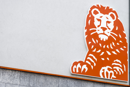 Signboard with logo of ING bank in Antwerp