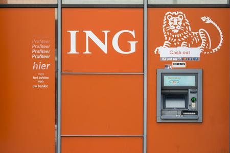 ATM bankautomaat of ING bank in Antwerp