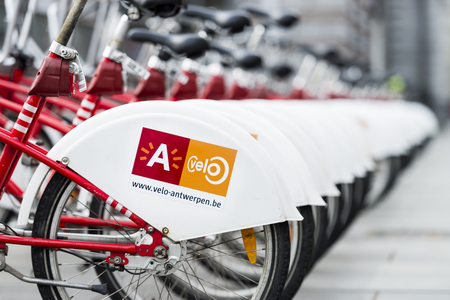 Velo-Antwerpen bikes lined up at bike station Centraal Station