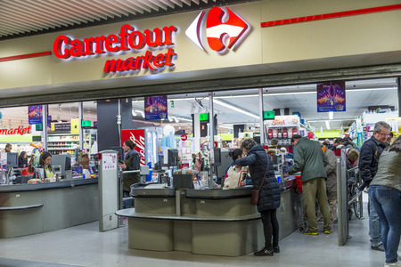 Carrefour market store at mall