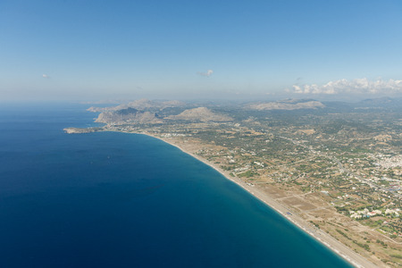 Aerial image of the coast of island of Rhodes, near the village of Afantou with view south on Kolympia