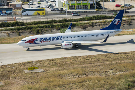 aerial image of OK-TSI Travel Service airlines Boeing 737-900ER ready for takeoff at the Rhodes international airport