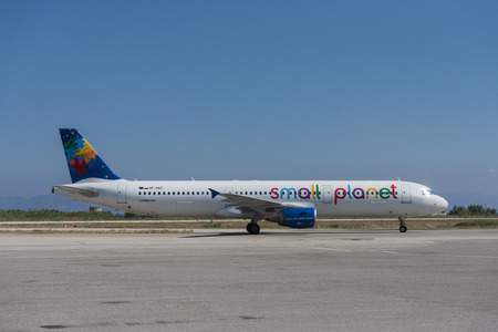 Small Planet Airlines plane Poland Airbus A321-200 with registration SP-HAZ at the Rhodes international airport
