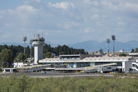 View of Corfu international airport apron, traffic control tower and terminal Editöryel