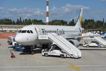Thomas Cook A320 Airplane at the airport of Corfu