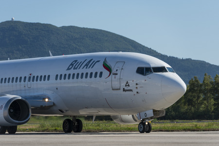 Bul air Boeing 737 with registration LZ-BOO at the Corfu airport
