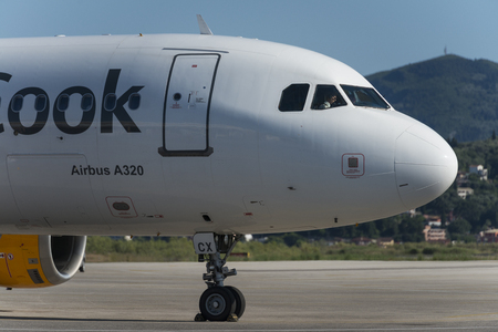 Nose of Thomas Cook A320 Airbus at the airport of Corfu
