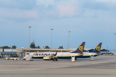 Ryanair Boeing 737 planes at Paphos International Airport