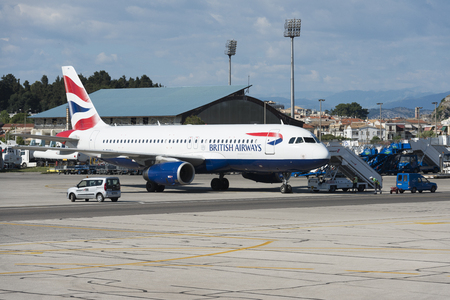 British Airways Airbus A320-200 with registration G-EUUW at Corfu internation airport