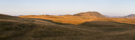 Rural landscape with grasses and meadows near Biogradska gora nationalni park Stok Fotoğraf