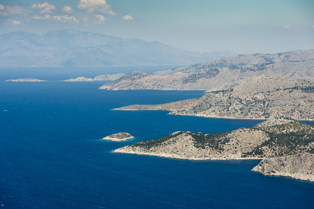 Aerial image of eastern Dodecanese Greek islands Koulondros, Seskli and Xisos in the Mediterranean Sea