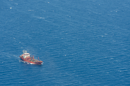 Aerial image of Altera 1 LPG tanker vessel at the mediterranean sea