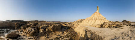 Panoramic image of Castildetierra castle of earth, a natural tower in the Bardenas Reales desert Stok Fotoğraf