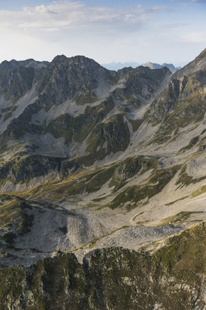 Aerial image at sunset over amazing mountain landscapes at Parc national de la Vanoise in the French Alps