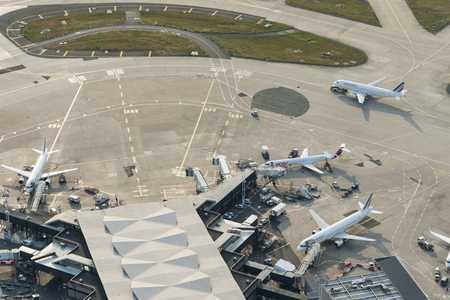 Aerial image of Air France airplanes arriving at leaving at the terminal buildings from Orly (Ouest) International Airport Editöryel