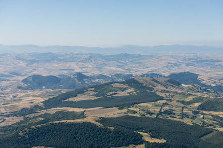 Aerial image of hilly countryside typical to the Province of Foggia in Italy