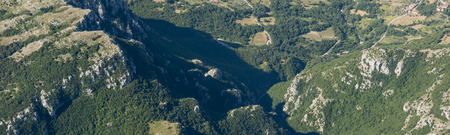 Aerial image panorama of mountain landscape near Pietraroja, Monte Nutria in the Apennines mountains Stok Fotoğraf