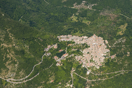 Aerial image of the village of Patrica surrounded by forests in the Lazio region of Italy, Province of Frosinone Stok Fotoğraf
