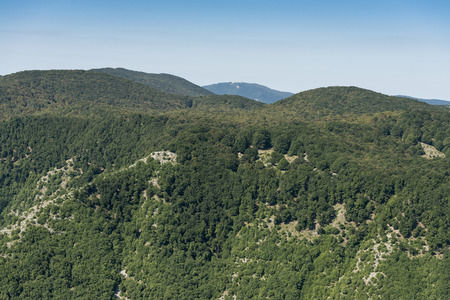 Aerial image of Monte Gemma with forests in the region of Lazio