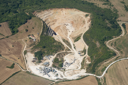 Aerial image of mining industry in Lazio region in Italy Stok Fotoğraf