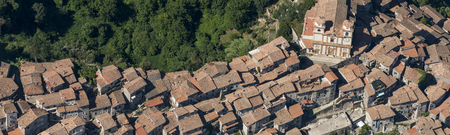 Aerial image of the town of Artena in the Metropolitan City of Rome, Italy