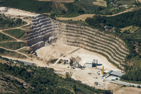 Aerial image of mining industry near the village of Artena; Italy