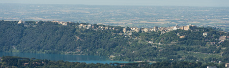 Aerial panorama image of with the caldera named Lago Albano (Lake Albano) in front