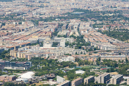 Aerial overview image of the centre of Rome city, Italy