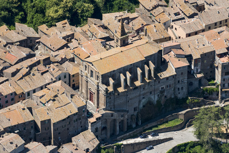 Aerial image of the old part of Capranica town in Province of Viterbo, Lazio region
