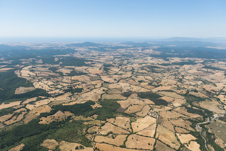 Aerial image of the countryside between Tuscania and Viterbo, typical for the Viterbo province Stok Fotoğraf