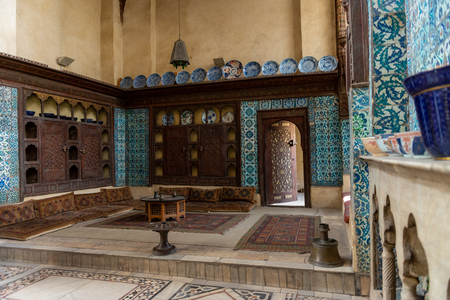 Interior room in the Bayt Al-Suhaymi, House of Suhaymi, is an old Ottoman era house museum in islamic Cairo, Egypt. It was originally built in 1648 by Abdel Wahab el Tablawy along the Darb al-Asfar, a very prestigious and expensive part of Islamic Cairo.