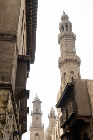 Old Ottoman style architecture at the Muizz Street in Old Cairo, Egypt Stok Fotoğraf