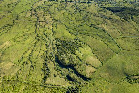 Aerial image of typical countryside landscape of Planalto da Achada central plateau of Ilha do Pico Island, Azores, Portugal