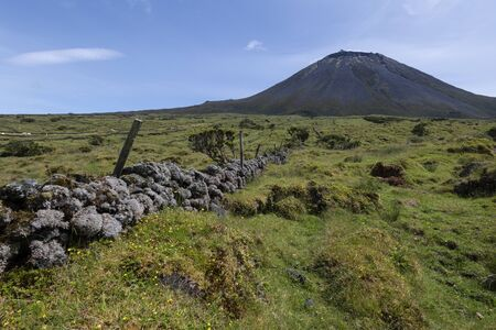 Landscape showing Ponta do Pico (mount Pico), Portugal's tallest mountain and volcano, with lavastone walls in the foreground, Azores
