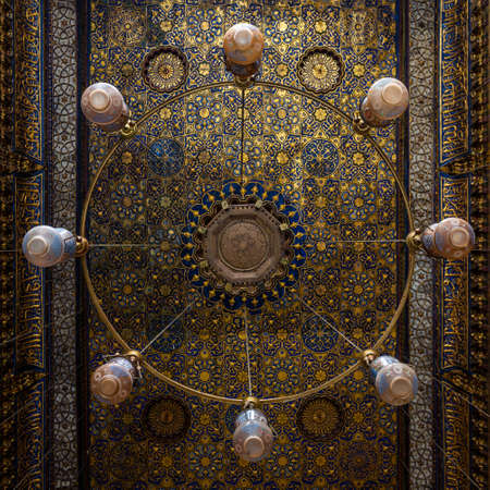 Amazing decorated chandeliers at the Qalawun complex, a massive complex in islamic Cairo, Egypt that includes a madrasa, a hospital and a mausoleum.